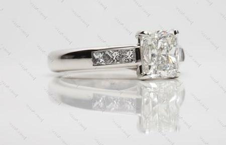 channel set radiant cut diamond