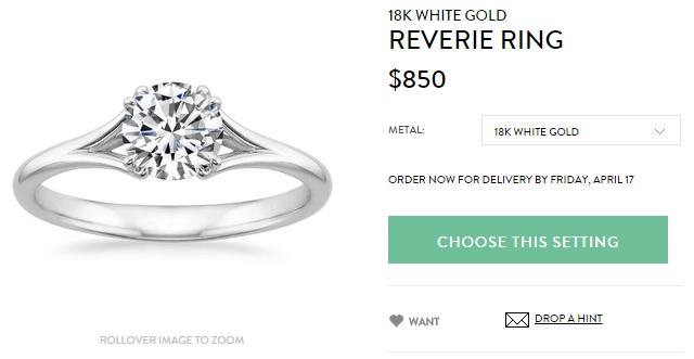 18k white gold reverie ring
