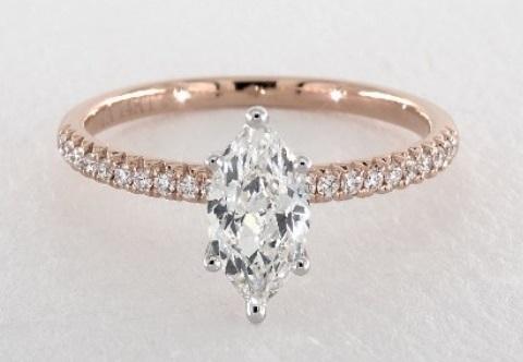 marquise cut diamond ring beautiful pave 14k rose gold