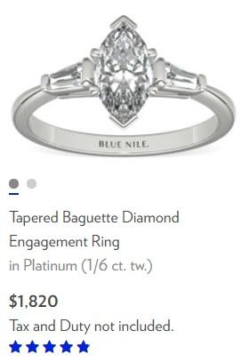 tapered baguette diamond ring platinum marquise center stone