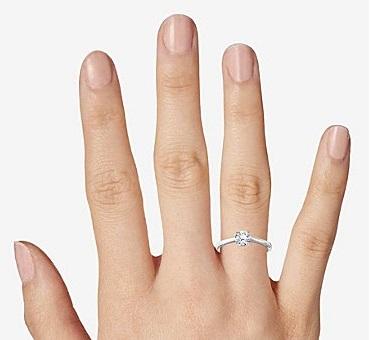 best 0.70 - 0.75 carat diamond engagement ring on finger size seven
