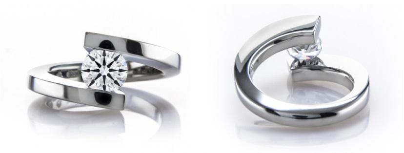tension floating diamond engagement ring in platinum