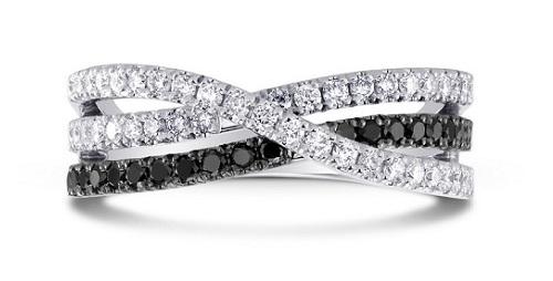 black diamond wedding ring interlace with white diamond