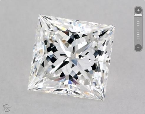 not eyeclean square shape princess cut diamond